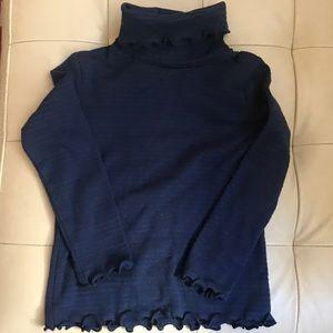 Shimmery blue & back ruffle turtleneck